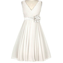 New Arrival Ivory Chiffon A Line Short Bridesmaid Dress Women Prom Dresses Sexy - $65.88