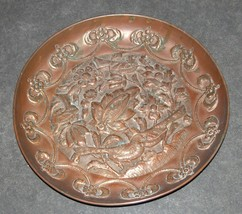Antique Islamic Copper Tray Plate Birds Flowers Scene Oriental Wall Hang image 2