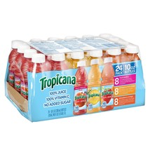 Tropicana 100% Juice 3-Flavor Fruit Blend Variety, 10 Fl Oz Bottles (24 ... - $21.10