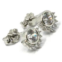 SOLID 18K WHITE GOLD STUD EARRINGS, SUN, CROWN, EYE, CUBIC ZIRCONIA, 0.3 INCHES image 3