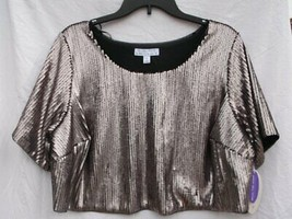 ASHLEY NELL TIPTON FOR BOUTIQUE MATTE ROSE SEQUIN STYLE CROP TOP SZ 2X R... - $10.99