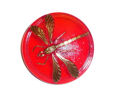 """Pretty Red Czech Glass w/ Gold Col Accents Dragonfly Shank Button 1-5/8""""... - $11.49"""