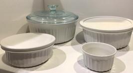 4 Piece CorningWare French White 4 oz, 6 oz, 1.5 qt, 2.5 qt Casserole Dishes - $38.00