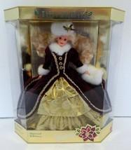 1996 Happy Holidays Barbie Special Edition Doll NIB Maroon Gold White Fur - $19.79