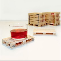 Wooden Pallet Coasters Set 4  Coffee Drink Beverage Wooden Mini Cup Mat ... - £14.25 GBP