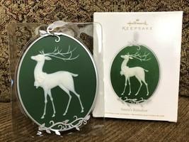 Hallmark Keepsake Ornament Sant's Reindeer 2011 Porcelain & Metal - $11.29