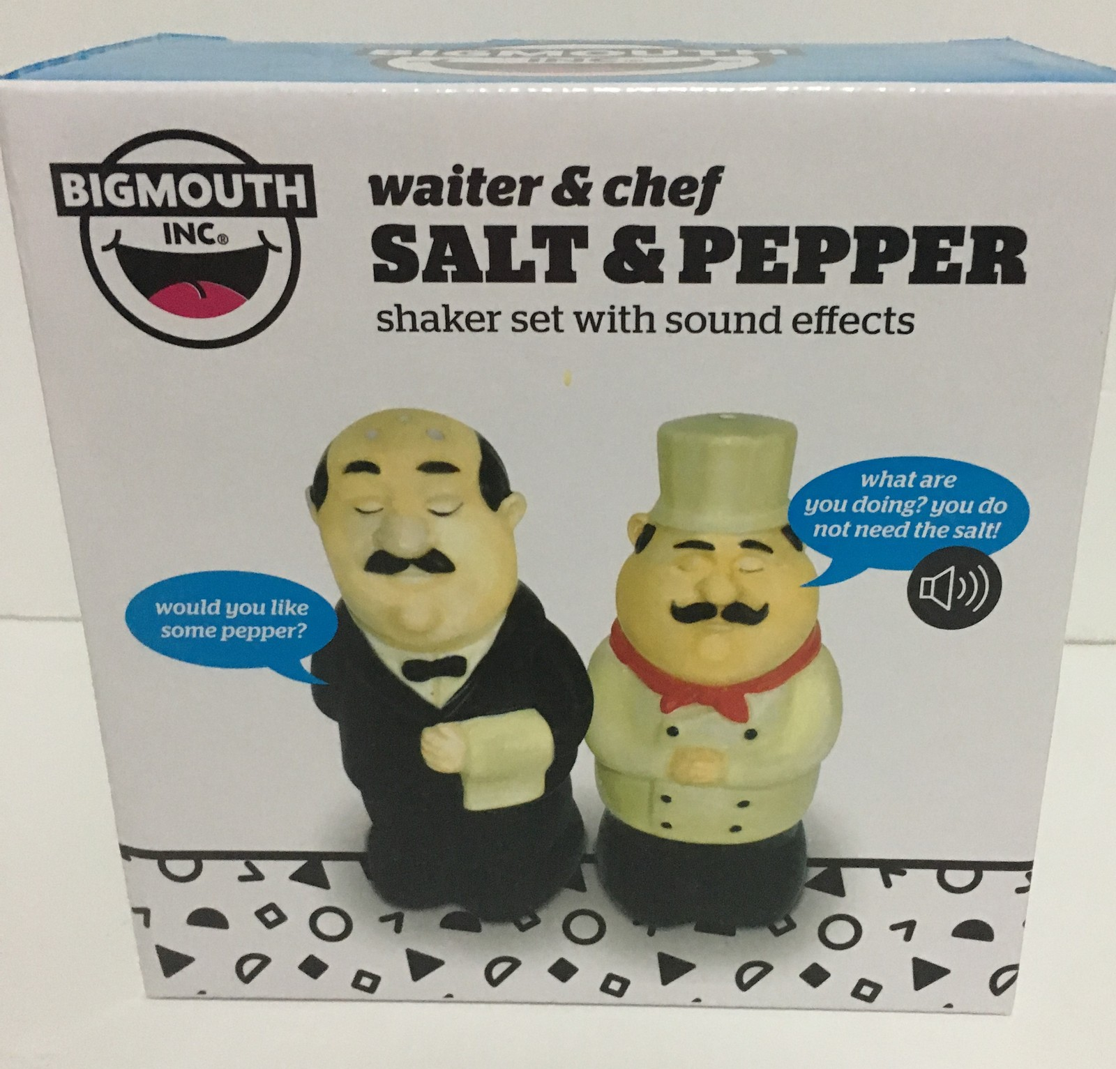 Bigmouth French Accent Chef Salt & Pepper Shakers Battery Voice NIB