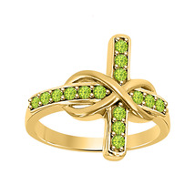 0.50 ct Round Cut Peridot 18K Yellow Gold Over 925 Silver Infinity Cross Ring - $72.24