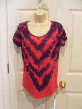 NWT faded glory pink/purple TIE DYE short sleeve tunic top  small 4-6 - $15.83