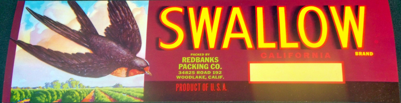 Soar with the Swallow Crate Label, 1930's