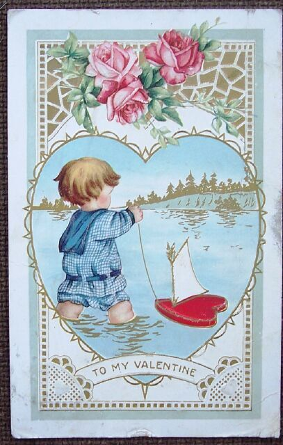 1915 Valentine's Day Post Card Boy and Sailboat