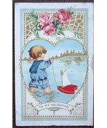 1915 Valentine's Day Post Card Boy and Sailboat - $3.00