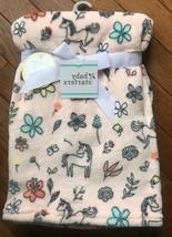 """Baby Starters Peach Background W/UNICORNS & Flowers Baby Blanket 30"""" X 40"""" Nwt - $13.49"""