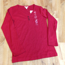 Charter Club Henley Top, Red, Size XS - $10.88