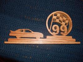 Racingcar/flag wood display - $18.00