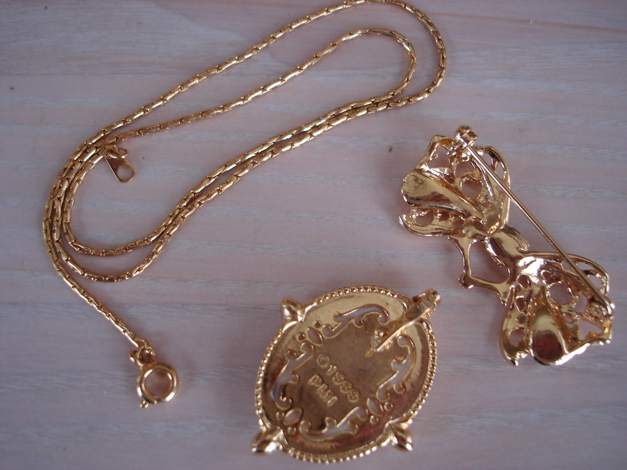 Precious Moments Goldtone Pendant, Brooch, Chain, 1999