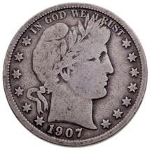 1907-S 50C Barber Half Dollar in VG Condition, Natural Color - $46.75