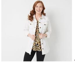LOGO by Lori Goldstein Reg 12 Button Front Denim Jacket w/ Released Hem,... - $44.99