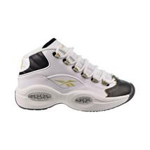 "Reebok Question Mid ""Black Toe"" Big Kids' Shoes White-Black-Gold Met EG6274 - $90.00"
