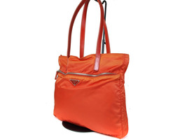 Authentic PRADA Nylon Canvas, Leather Orange Shoulder Bag PS14418L - $149.00
