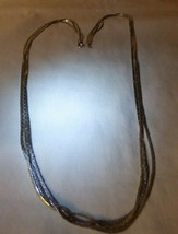 "Vintage 1970s-80s Costume Silvertone 3 Strand 24"" Necklace Unmarked - $15.00"