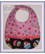 Cupcakes Baby Bib, Cupcakes Baby Shower Gift, Pink Cupcakes Baby Girls Bib - $11.00
