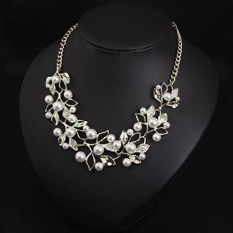 Match-Right Vintage Simulated Pearl Leaves Theme Necklace for Women image 2