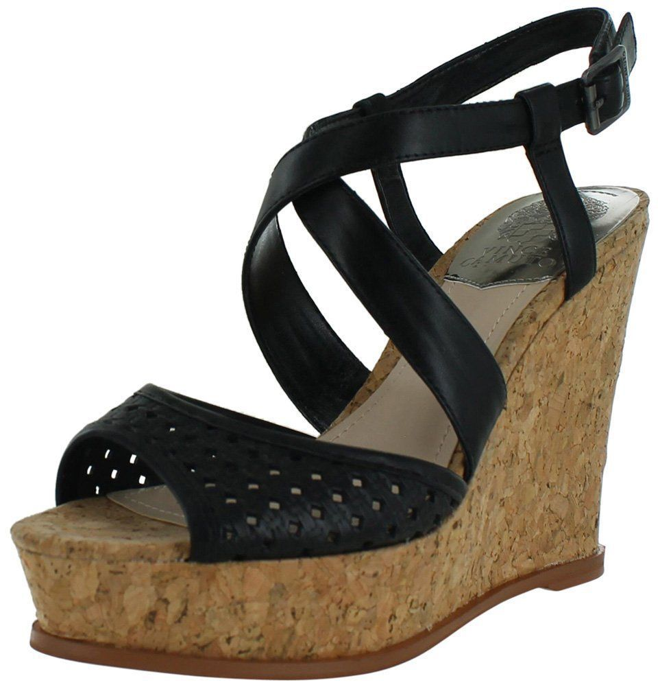 Primary image for Vince Camuto Ilario Womens Leather Wedge Sandals Cork Black Size 10