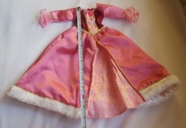 R&M Doll Disney Clothes Pink Gown Evening Princess Dress Faux Fur Trim w defects - $8.56