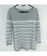 Karen Scott Womens Size Medium M Gray Striped Knit Sweater Lace-Up Cotton - $46.04