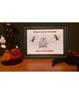 CAT and MOUSE BLACK AND WHITE HALLOWEEN VINTAGE CARTOON FRAMED Desktop P... - $9.90