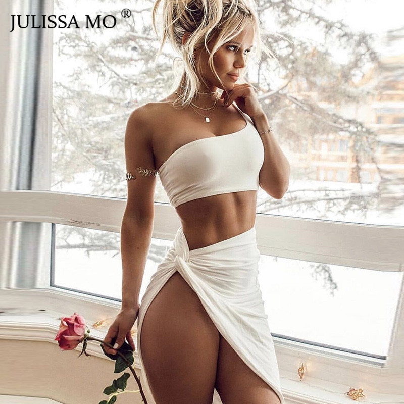 Primary image for JULISSA MO Sexy One Shoulder Bandage Dress Women Two Pieces Set High Split Body