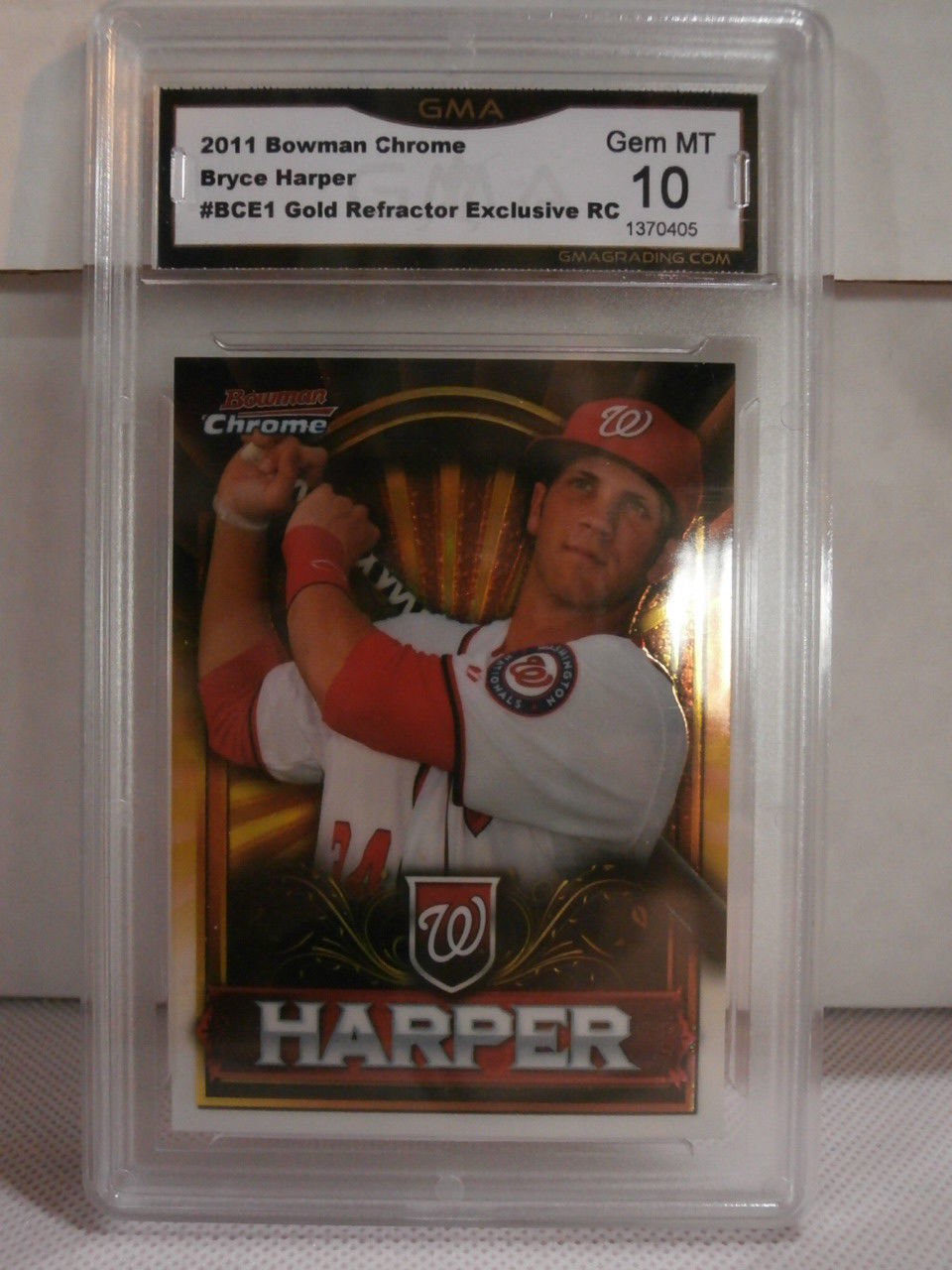 2011 Bowman Chrome Bryce Harper Gold Refractor Exclusive RC GMA Grade Gem mt 10