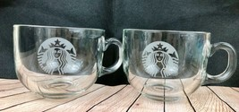 Set Of 2 Starbucks Clear Coffee Mugs With Etched Siren Mermaid Logo - $13.46