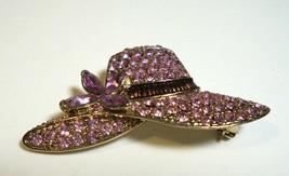 "Vintage Brooch / Pin  2"" Lavender Crystal Rhinestone Pave Hat Signed Monet - $5.94"