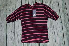 NEW Splendid Size 14 Girl's 3/4 Sleeve Hot Pink Maroon Striped Top - $8.90