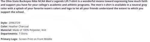 Ohio State Buckeyes Nike NCAA Legends Lift XL Heather Charcoal T-Shirt $35