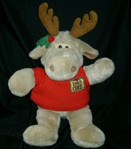 "16"" VINTAGE 1993 COMMONWEALTH CHRIS CHRISTMAS TAN MOOSE STUFFED ANIMAL P... - $36.47"