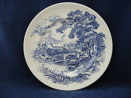 "2 Enoch Wedgwood 9 7/8"" Dinner Plates Countryside Blue White - $9.95"