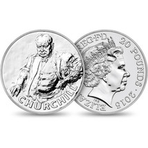 2015 Sir Winston Churchill Commemorative UK £20 Silver Coin Ltd Mintage Lot of 2