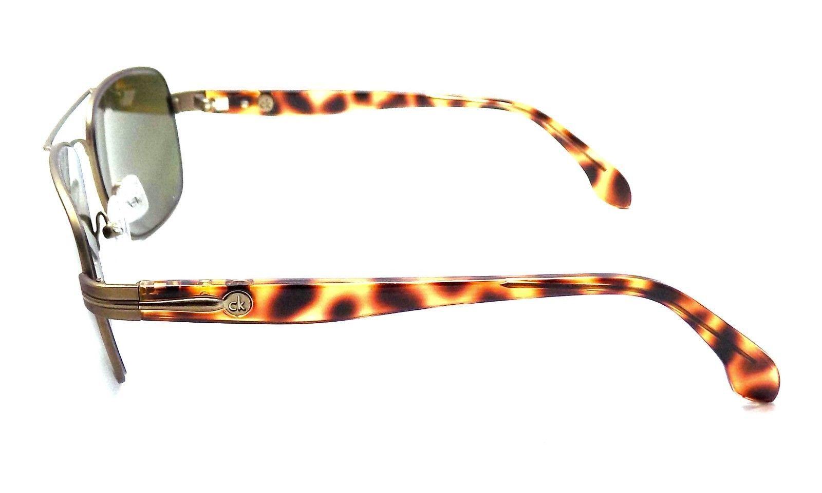Calvin Klein Aviator Sunglasses 55x17x135 Gunmetal Tortoise / Green Gray Lens