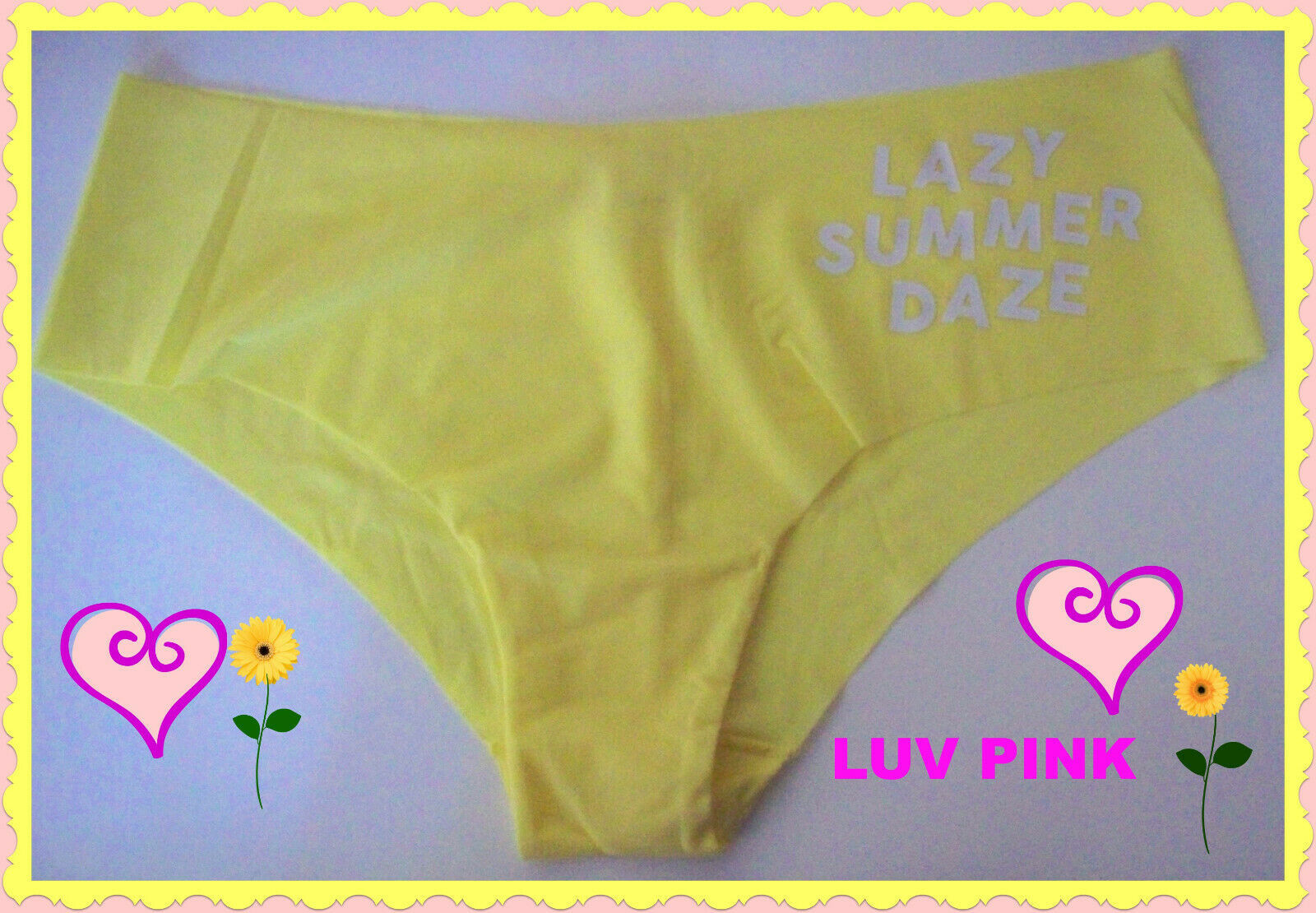 Primary image for L Sunny Yellow NO SHOW Victorias Secret PINK Low Rise Quick Dry Cheekster Pantie