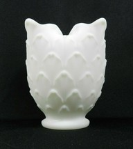 "Vintage Imperial Vase White Milk Glass Artichoke Scale Ruffled Edges 5"" - $14.84"