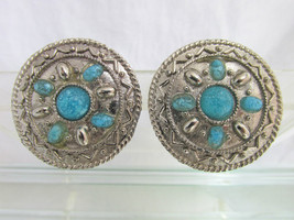 Vintage Southwest Design Concho Disk Earrings Silver Plated Turquoise Glass - $13.49