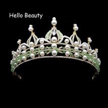 Baroque Vintage Green Crystal Beads Large Tiara Crown Pearl Rhinestone B... - £18.74 GBP