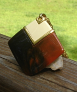 Vintage Crown Trifari© Tortoise Amber Lucite Retro Mod Pendant, Diamond ... - $135.00