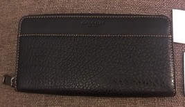 NWT Coach F12130 Men's Accordion Textured Leather Wallet Black - $82.75