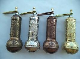 Turkish Brass Coffee Grinder Coarse Adjustable 7'' (18 cm) Handmade Antique - £19.45 GBP