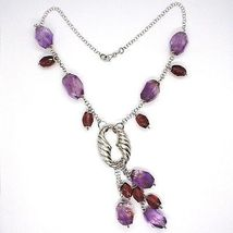 Silver necklace 925, FLUORITE OVAL Faceted Purple Cluster Pendant image 3