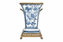 Beautiful Blue and White Floral Porcelain Square Vase Ormolu Brass Accen... - $168.29